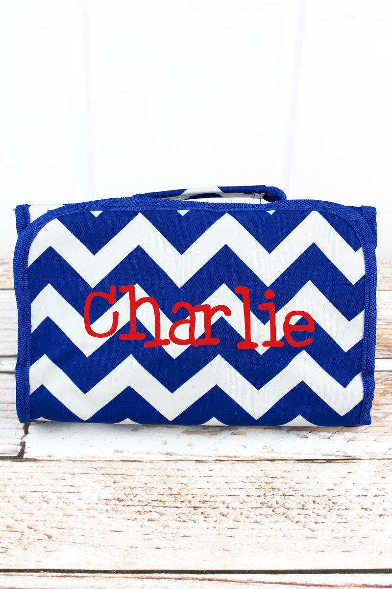 SALE! NGIL Royal Blue Chevron Roll Up Cosmetic Bag