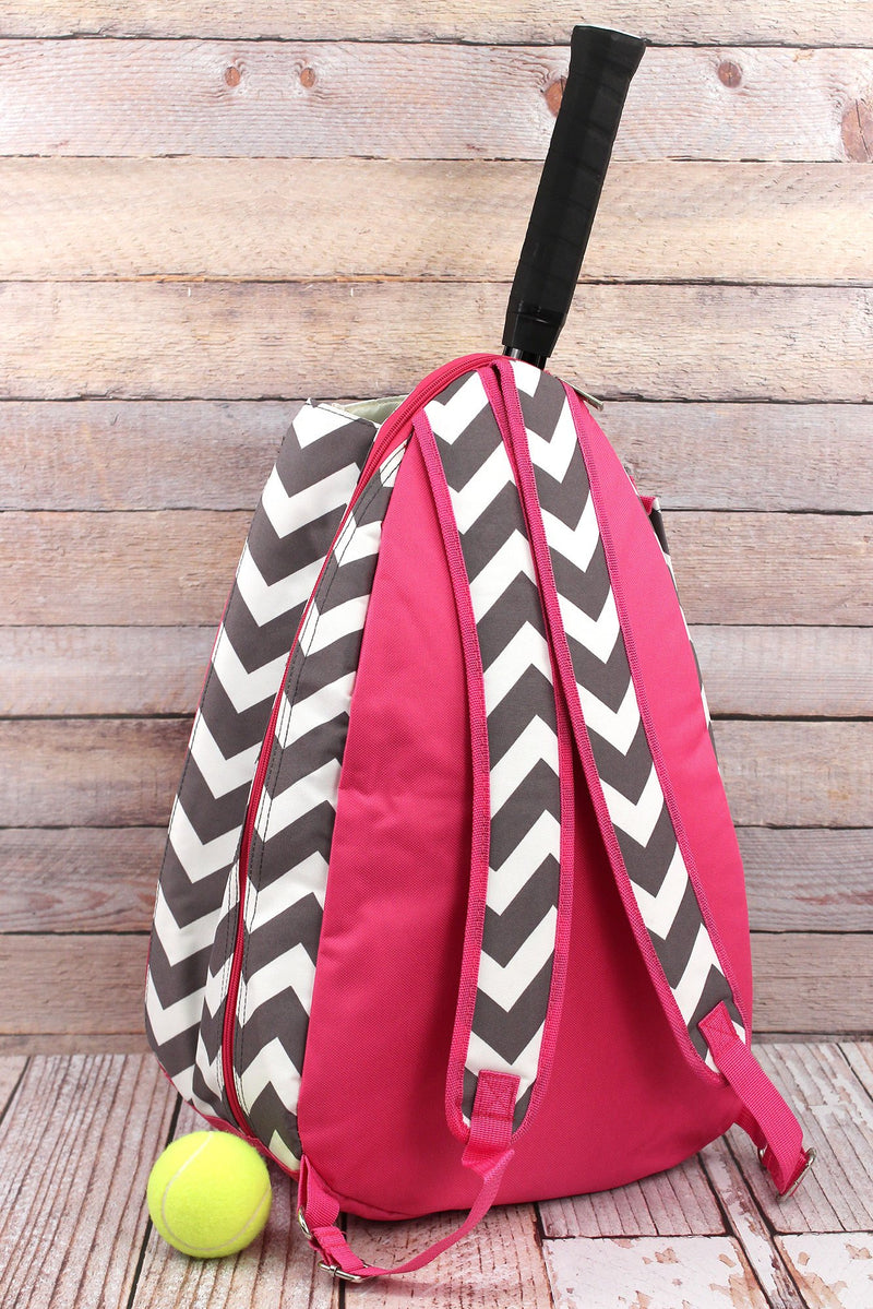 SALE! NGIL Gray Chevron Tennis Backpack with Hot Pink Trim