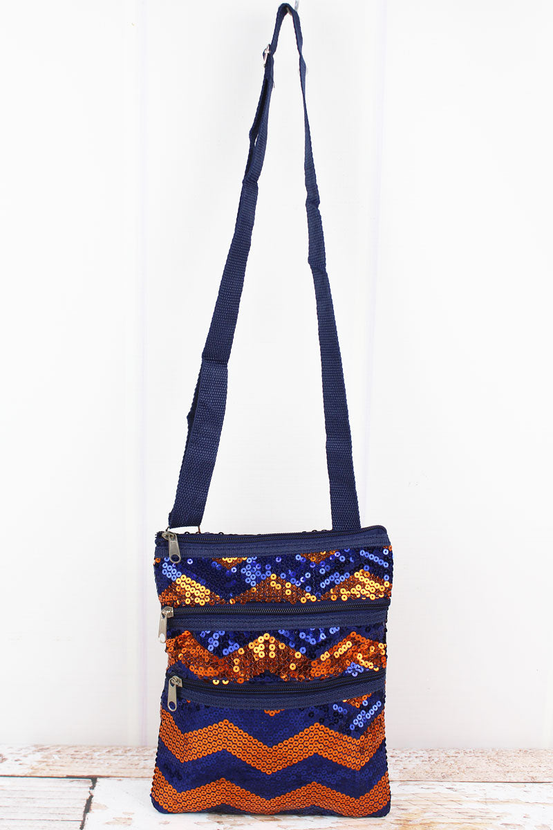 SALE! NGIL Navy and Orange Sequined Chevron Crossbody Bag