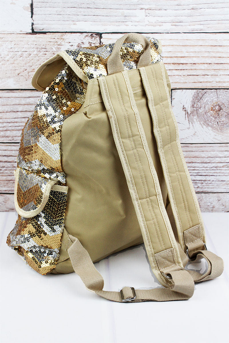 SALE! NGIL Gold Sequined Chevron Large Drawstring Backpack