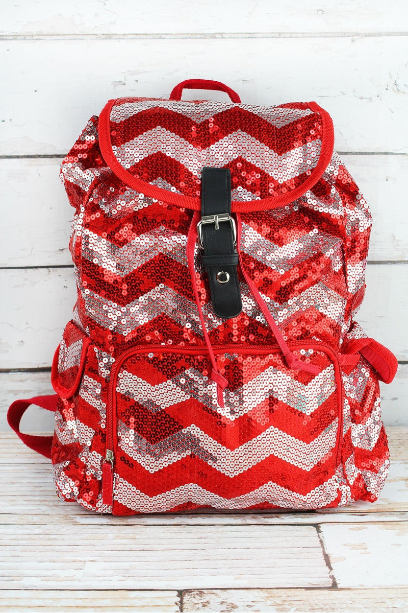 NGIL Red Sequined Chevron Large Drawstring Backpack