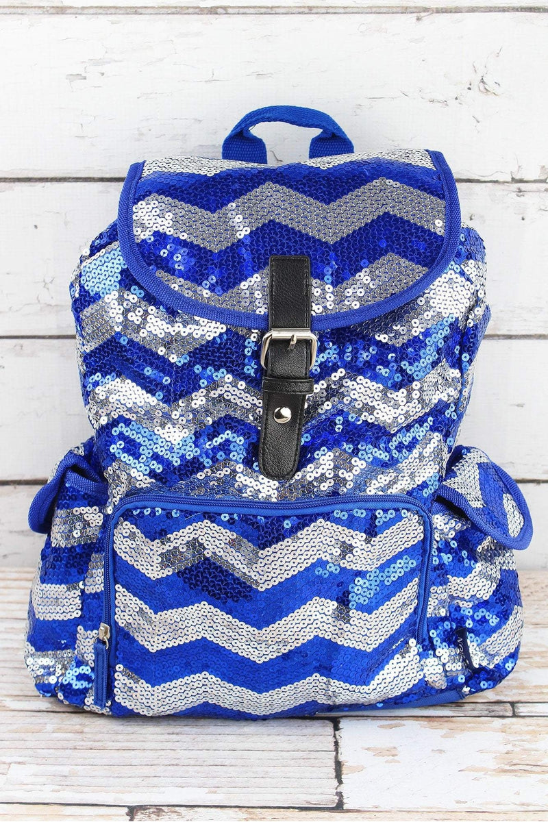 a5525f0825bd Royal Sequined Chevron Large Drawstring Backpack
