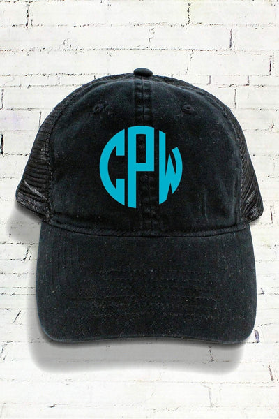 Black Washed Trucker Cap #ZK641 (PLEASE ALLOW 3-5 BUSINESS DAYS. EXPEDITED SHIPPING N/A)