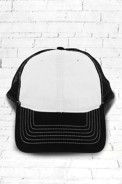 White and Black Washed Trucker Cap