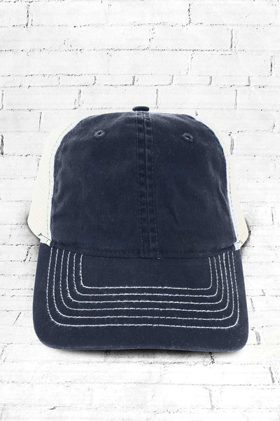 Navy Washed Trucker Cap #ZK641 - Wholesale Accessory Market