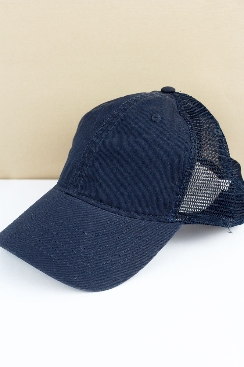 SALE! Navy Washed Trucker Cap