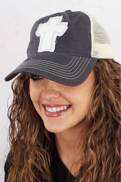 Distressed Cross Washed Trucker Cap #ZK641 *Choose Your Hat Color - Wholesale Accessory Market