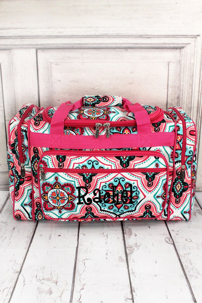"Blissful Garden Duffle Bag with Hot Pink Trim 20"" #ZMA420-HPINK"