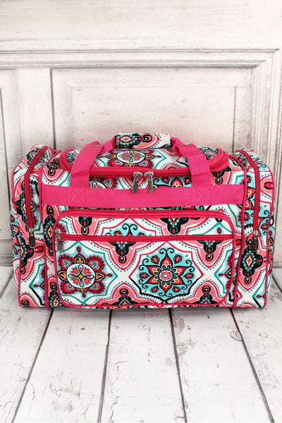 NGIL Blissful Garden Duffle Bag with Hot Pink Trim 20""