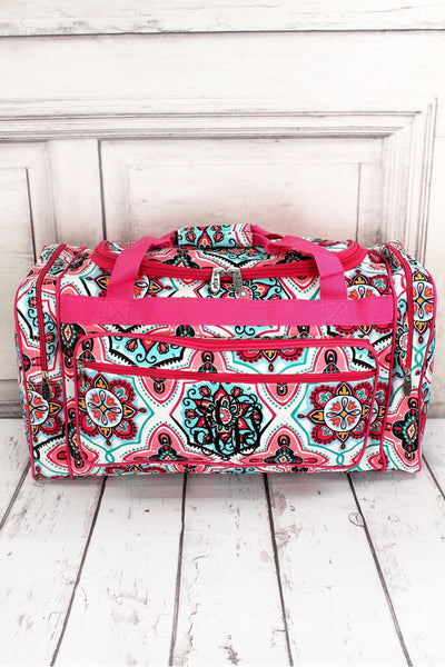"Blissful Garden Duffle Bag with Hot Pink Trim 23"" #ZMA423-HPINK"
