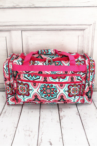 NGIL Blissful Garden Duffle Bag with Hot Pink Trim 23""