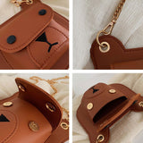 Bear Chain Strap Crossbody Handbag