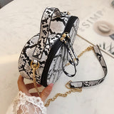 Snake Print Vegan Leather Heart-Shaped Shoulder Bag