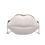 Lips Vegan Leather Clutch Chain Shoulder Bag