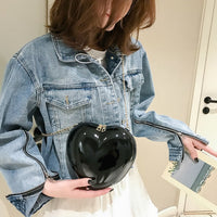 Solid Heart-Shaped Crossbody Bag