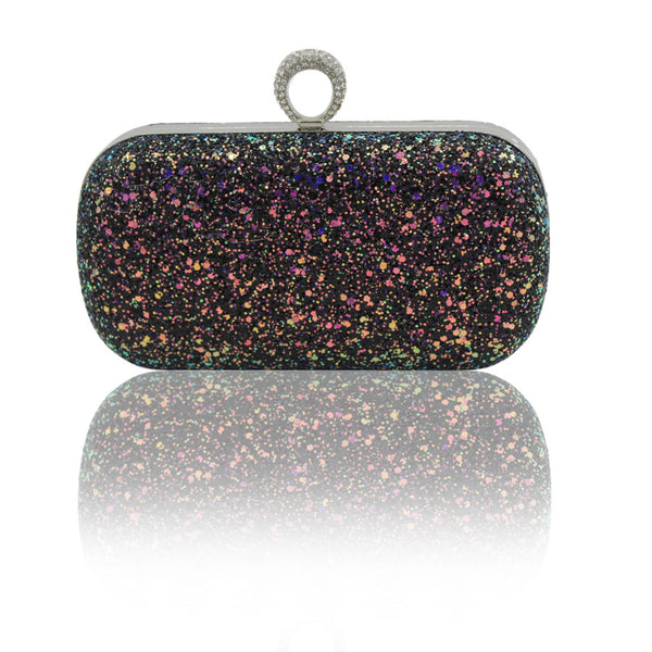 Holographic Glitter Knucklebox Evening Bag with Optional Chain