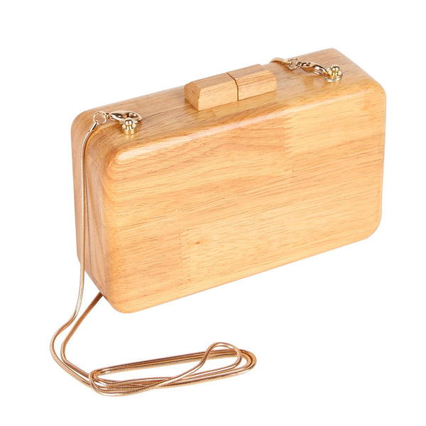 Wooden Day Clutch with Shoulder Chain Handbag