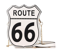 Route 66 Road Sign Vegan Leather Chain Crossbody Bag