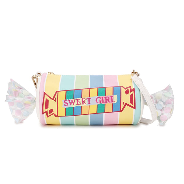 Sweet Girl Candy Stripe Vegan Leather Casual Clutch Bag