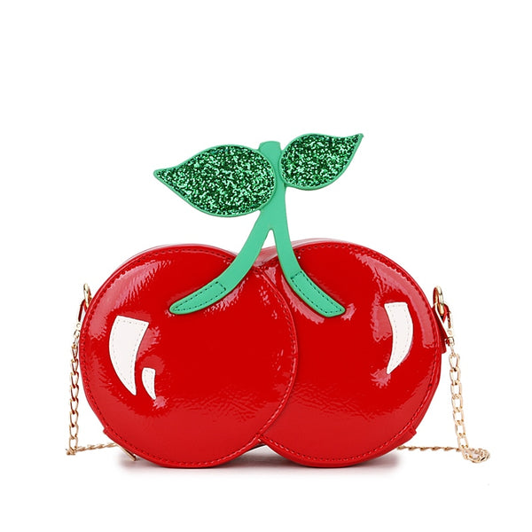 Red Cherry Vegan Leather Casual Chain Shoulder Bag