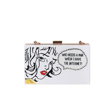 Who Needs a Man Acrylic Box Clutch Bag