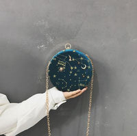 Embroidered Star Constellation Round Chain Shoulder Bag