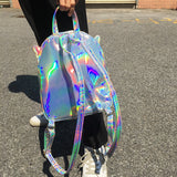 Wings and Hearts Holographic Embossed Mini Backpack