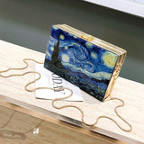 Art & Fashion Oil Painting Vintage Box Style Clutch & Crossbody Bag