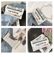 Fashion Newspaper Print Casual Envelope Clutch Bag