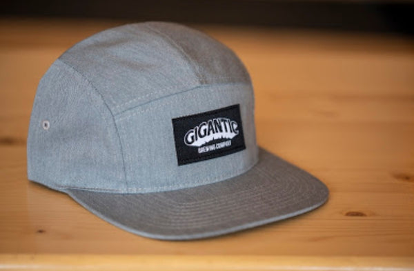 5 Panel Cotton Twill Strapback - Grey or Black