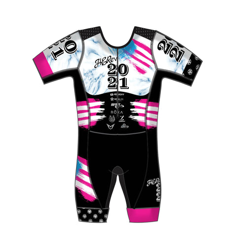 HERevolution 2021 Team Aqua Short Sleeve Tri Suit