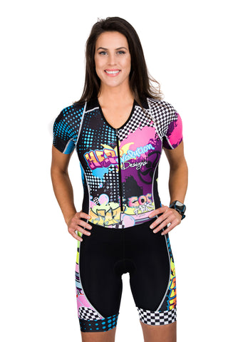 Rock'n & Rev'n One Piece Sleeved Aero Triathlon Suit