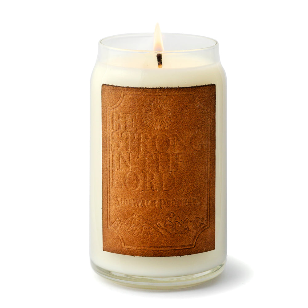 "Holtz Leather ""Be Strong In The Lord"" Premium Soy Candle (Snickerdoodle Scent)"