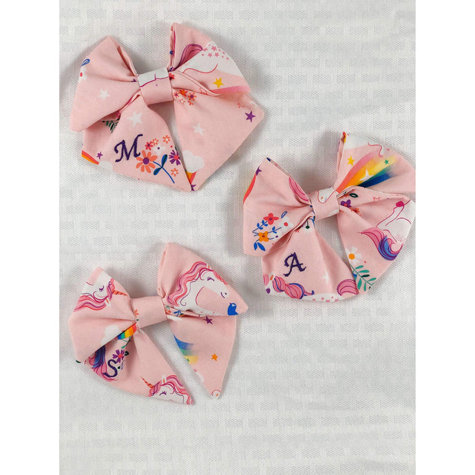 Monogrammed Unicorn Sailor Bow