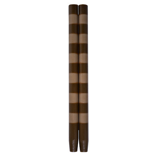 Striped Taper Candles Chocolate Fawn Six Band