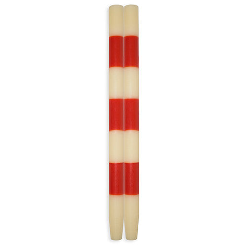 Striped Taper Candles Ivory Poppy Three Band