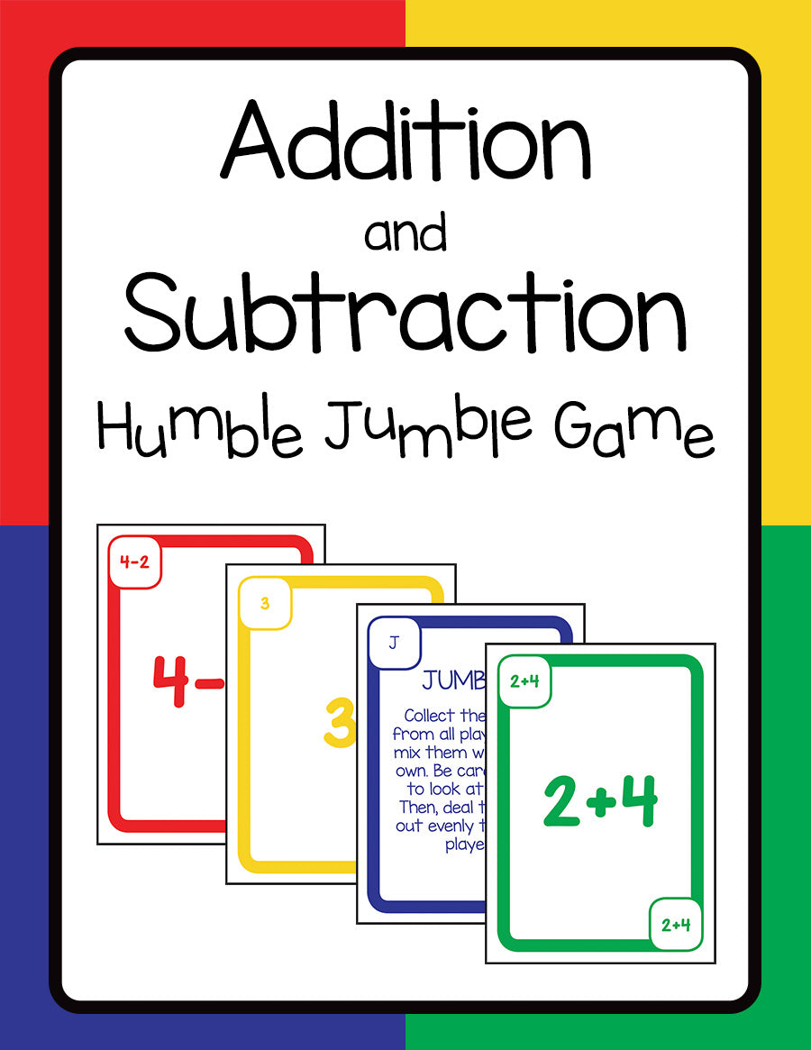 Addition and Subtraction Humble Jumble Game - Warm Hearts Publishing
