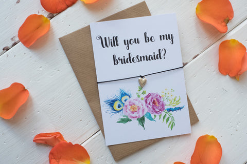 Wish Bracelet, Badge, Magnet or Keyring - Will you be my Bridesmaid? Floral