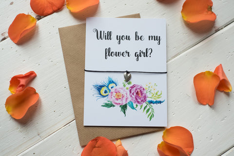 Wish Bracelet, Badge, Mirror or Keyring - Will you be my Flower Girl? Floral
