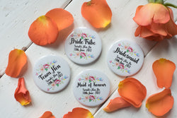 Custom Badges, Magnets, Keyrings or Mirrors for Hen Do - Floral Arrow