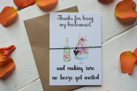 Wish Bracelet, Badge, Magnet or Keyring - Thanks for being my Bridesmaid Funny Booze & Cake