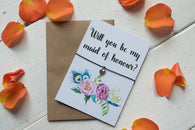 Wish Bracelet, Badge, Mirror or Keyring - Will you be my Maid of Honour? Floral