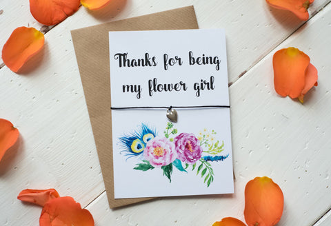 Wish Bracelet, Badge, Magnet or Keyring - Thanks for being my Flower Girl - floral.