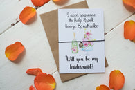 Wish Bracelet, Badge, Magnet or Keyring - Will you be my Bridesmaid? Funny Booze & Cake