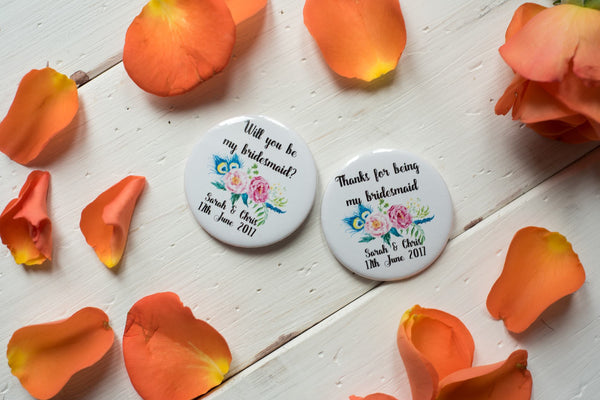 Custom Badges, Magnets, Keyrings or Mirrors for Weddings or Hen Do - Floral