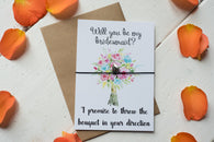 Wish Bracelet, Badge, Magnet or Keyring -  Will you be my bridesmaid? - Bouquet