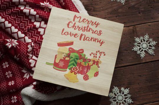 Personalised Printed Xmas Eve Box - Teddy & Presents DD158