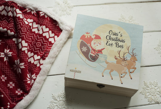 Personalised Printed Xmas Eve Box - Santa Sleigh & Moon DD159