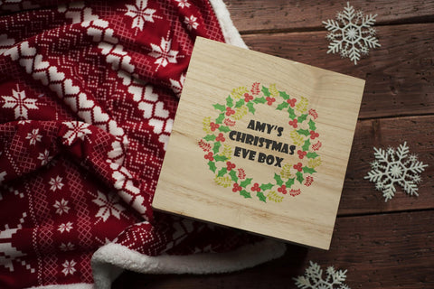 Personalised Printed Xmas Eve Box - Wreath DD154