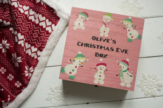 Personalised Printed Xmas Eve Box - Pink Snowman DD160